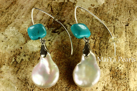 Earrings - Large Cointail Pearl & Square Turquoise