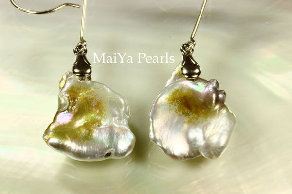 Earrings - Rare Bi-Color Large Keshi Pearls