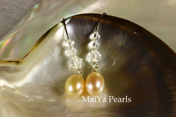 Earrings - Waterdrop Peach Pearl & Graduated Crystals