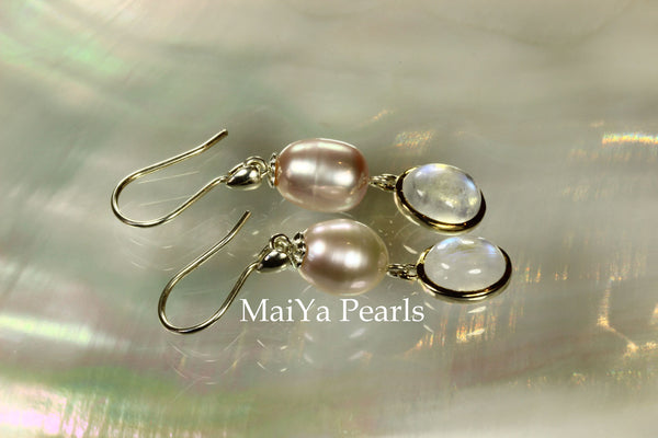 Earrings - Oval Moonstone & Waterdrop Purple FW Pearl
