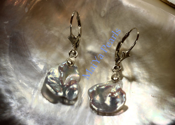 Earrings - Free Form All Nacre High Lustre Keshi Pearl White Freshwater