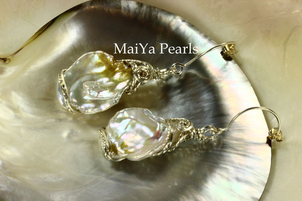 Earrings - Wire Sculpted Rare Bi-color Large Keshi Pearls