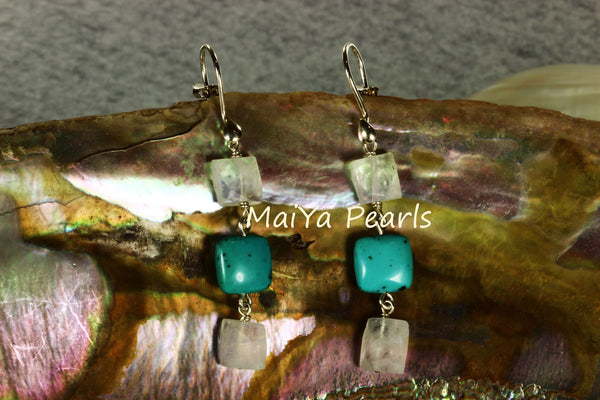 Earrings - Square Faceted Moonstone & Square Turquoise Natural Blue