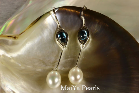 Earrings - Swiss Blue Topaz & Waterdrop White Pearls