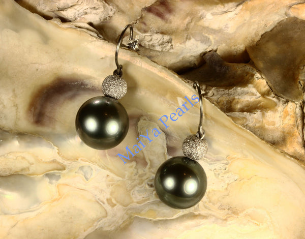 Earrings - AAA Tahiti Black Pearl & 14k White Gold Star Dust Beads