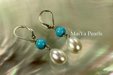 Earrings - Sleep Beauty Turquoise & Waterdrop White Pearls FW