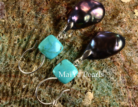 Earrings - Large Baroque Navy Blue Pearl FW & Square Natural Turquoise