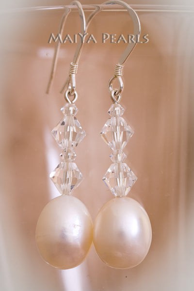Earrings - Swarovski Crystals and Oval Pearl