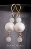 Earrings - White Round Pearls with 2 moonstones