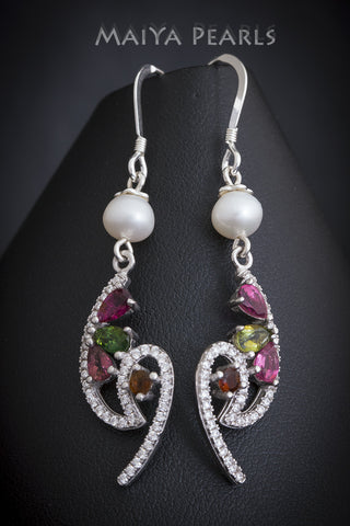 Earrings  -  Keshi Pearl and Natural Tourmaline, Cubic Zirconium