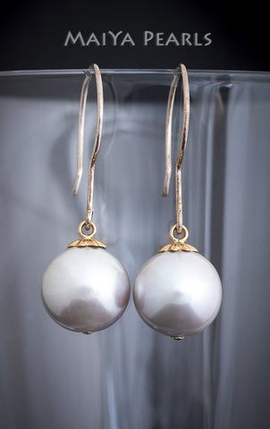Earrings - Large Round Silver Pearl