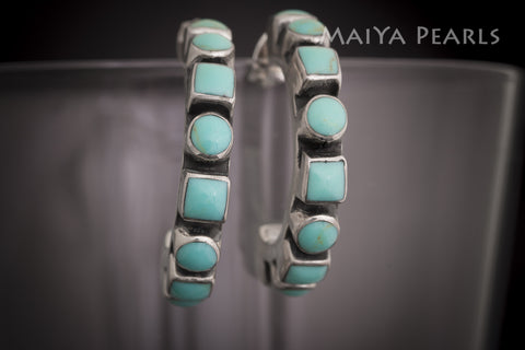 Earrings - Turquoise Inset in 925 Sterling Silver Loops