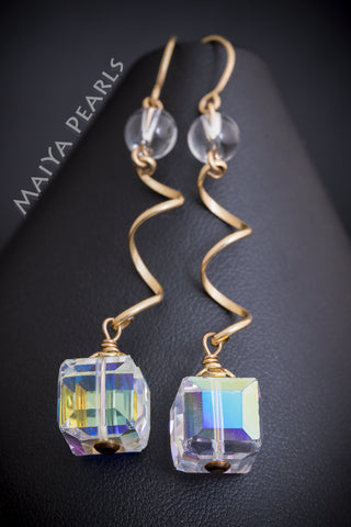 Earrings - 14K Gold Filled Wire, Natural Quartz Crystal, & Swarovski Crystal Cubes