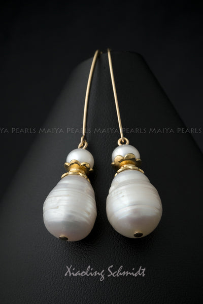 Earrings - Gold with Large Circlé Teardrop Pearls