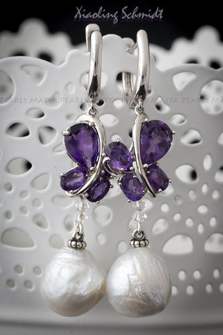 Earrings - Silver with Purple Amethyst Butterflies and Pearls