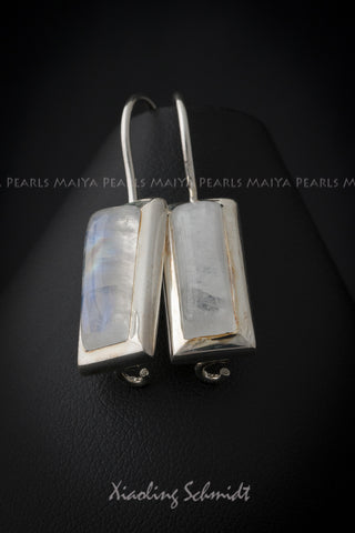 Earrings - Moonstone inset with 925 Sterling Silver