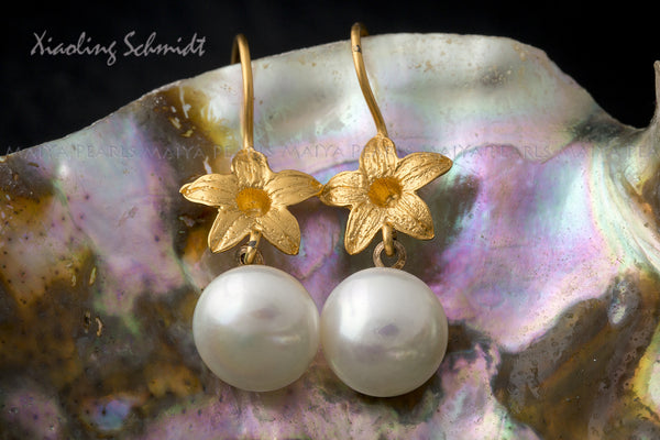 Earrings - 24K Gold Plated on Sterling Silver Flowers and Button Pearls