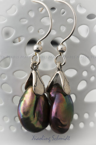 Earrings - Freshwater coin shaped Pearl