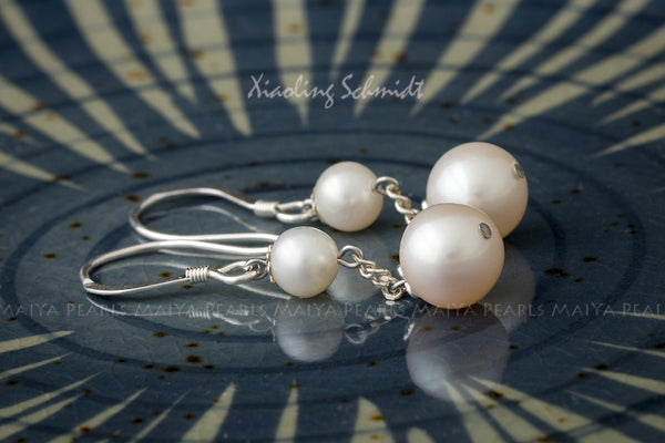 Earrings - Double round Pearls with 925 Sterling Silver Findings
