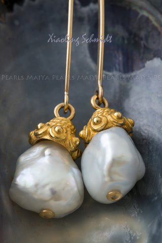 Earrings1 - 18K Vermeil Gold with Baroque Pearls