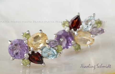 Stud Earrings - Multi-Coloured Gemstones with 925 Sterling Silver