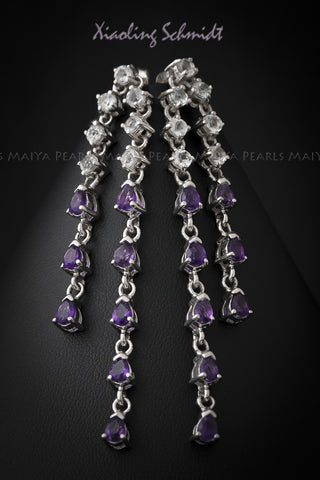 Earrings - Dangling Amethyst and White Topaz inset in 925 Sterling Silver