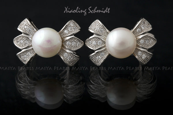 Stud Earrings - AA+ Round Pearls with Cubic Zirconium Settings