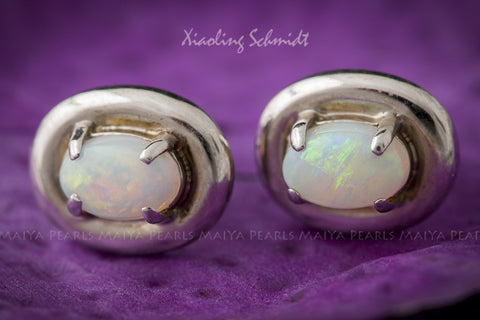 Stud Earrings - Australian Fire Opal inset 925 Sterling Silver