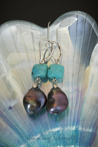 Earrings - Large Freshwater Keshi dyed black Pearl with Turquoise Squares