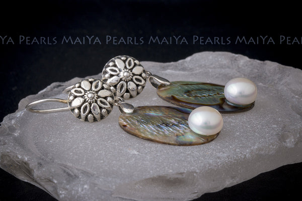Earrings - Paua Shell and Button Pearls with 925 Sterling Silver