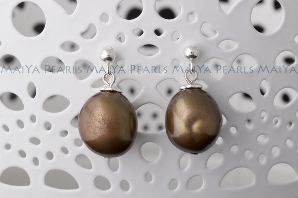 Earrings - Large Golden Coloured Pearl Studs (925 Sterling Silver Settings)