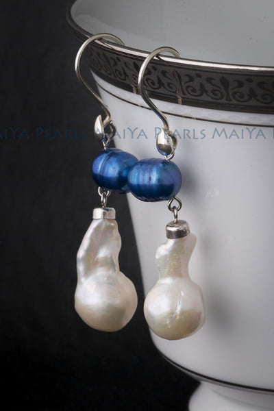 Earrings - Unique White Baroque Fishtail and Blue Circlé Pearls & 925 Sterling Silver Fishhook Clasps