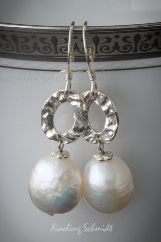 Earrings - Large White Baroque Pearl & 925 Sterling Silver Oval Ring Link