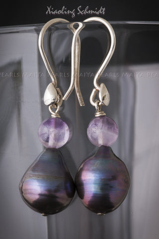 Earrings - Large Teardrop Baroque Pearl (Black & Purple) with Amethyst