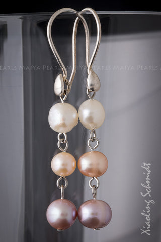 Earrings - Tri-Pearl with 925 Sterling Silver Settings and Clasps