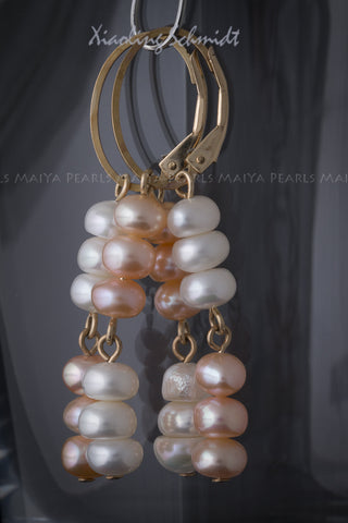 Earrings - String of white and peach pearls with 14K Gold Clasps