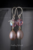 Earrings -  Pink Freshwater Pearl & Swarovski Crystal (Sterling Silver Fishhook Clasp)