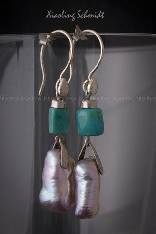 Earrings - Large Rectangular Pink Freshwater Pearls with Turquoise Stone Squares