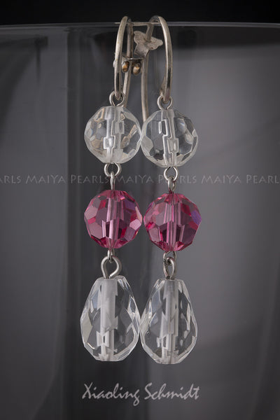 Earrings - Natural and Pink Swarovski Crystals