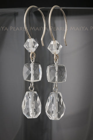 Earrings - Natural and Swarovski Crystal & 925 Sterling Silver Fishhook Clasps