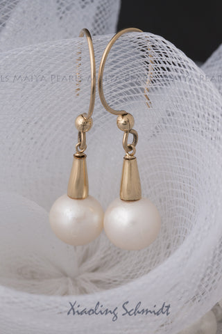 Earrings - 14K Gold Settings & White Round Pearls