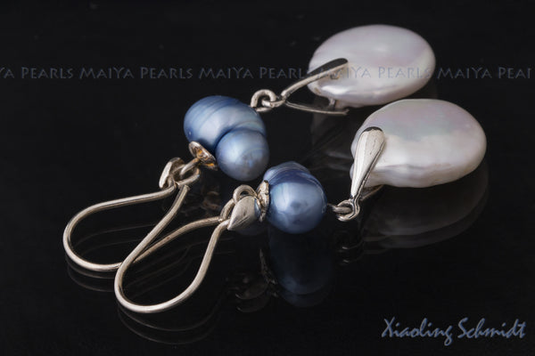 Earrings - Large White Coin Shaped Pearls and Baroque Blue Pearls with Sterling Silver Fishhook Clasps