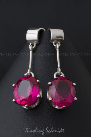 Earrings - Ruby with 925 Silver Setting