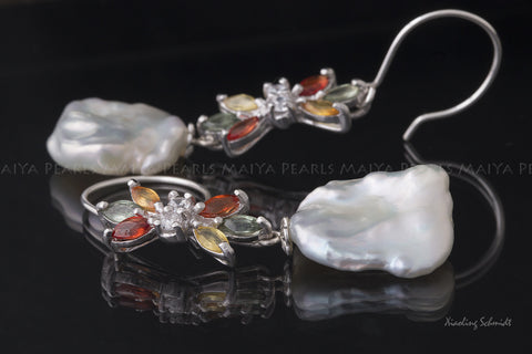Earrings - Large Keshi Baroque Pearls with Saphires