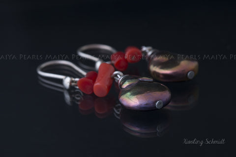 Earrings - Baroque Petal Pearls Multicolour with Red Coral