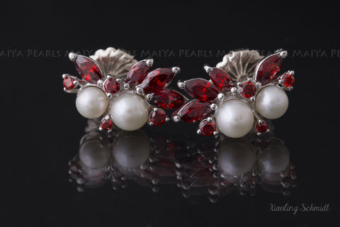 Stud Earrings - Round White Freshwater Pearls with Red Rubies