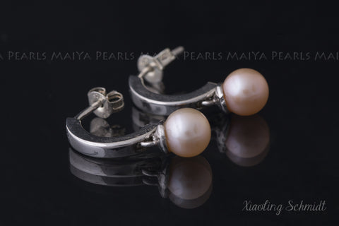 Earrings - FW Pearl with 925 Silver / 24K White gold