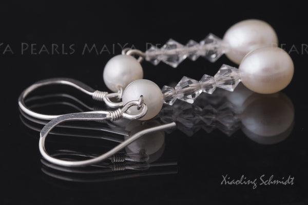 Earrings - Double Pearl and Swarovski Crystals