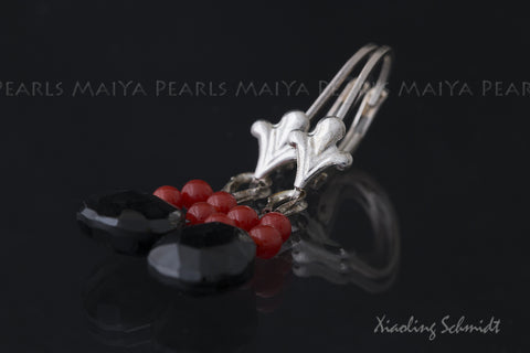 Earrings - Black Spinal and red coral with 925 Sterling Silver Lever back