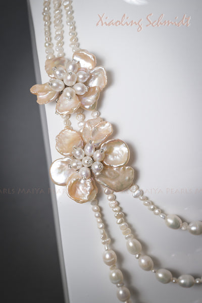 Necklace - 3-Strand White Freshwater Pearls with Keshi Peach Petal Flower Pendants